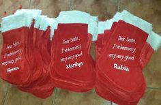 Personalised Christmas stockings. We sell country-wide. Buy on-line on www.multidimension.co.za Personalized Christmas Gifts, Dear Santa, Christmas Stockings, Country, Holiday Decor, Stuff To Buy, Rage, Personalised Christmas Gifts, Rural Area