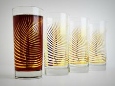 Highball Drinking Glasses With Golden Fern Leaves - Set Of 4 by Mary Elizabeth Arts on Gourmly