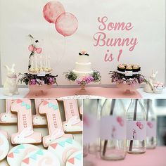 """The inspiration for Cerise's first birthday party theme, 'Some Bunny Is One,' party planner Jade McKenzie of Australia's Event Head. ; accomplished that through sweet bunny graphics from Etsy's Billy & Scarlet, lots of pink details, and some of the cutest bunny and woodland-themed cookies we've ever seen. Click here to check out all the beautiful bunny details.  Source: Event Head"