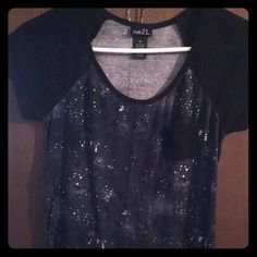 Galaxy t-shirt Rue 21 Galaxy t-shirt. Very soft material very comfortable with a solid black back Rue 21 Tops Tees - Short Sleeve