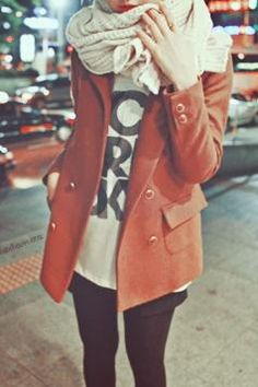 graphic T / bright coat / cozy scarf