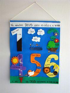 Fiz um painel de EVA para colocar na porta da classe. Muito simples só uma folha de EVA azul, os números e o que foi feito em cada dia. No ...