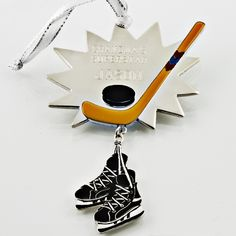 hockey skates and stick christmas ornament thingsengravedgifts