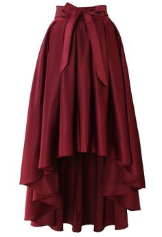 Gorgeous Bowknot Asymmetric Waterfall Skirt in Wine Red (Chicwish)