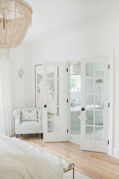 The Dreamiest White Bedroom You Will Ever Meet The Dreamiest White Bedroom You Will Ever Meet Step Inside Monika Hibbs Dreamy White Bedroom Redesign With Us Today Monika Hibbs Blush Wedding Photography White Bedroom, Home, Home Bedroom, Cheap Home Decor, Bedroom Redesign, House Interior, Home Interior Design, Interior Design, French Doors Interior