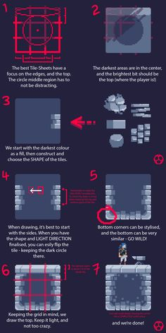 """A brief overview on a simplistic an…""""> 9 Jun 2017 > ! A brief overview on a simplistic and readable tile design. Minimalism is key here! This is the tile style for Pixel Art Background, Character Design Tips, Cool Pixel Art, Pixel Animation, Pix Art, Pixel Art Games, Animation Tutorial, Environment Concept Art, Game Design"""