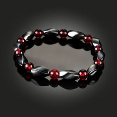 Magnetic Hematite ruby Healing Mens Loose Beads Bracelet Cuff