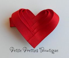 Boutique Valentine Heart Hair Bow Clip
