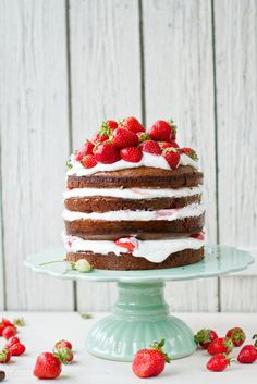 Fresh Strawberry Cake  - CountryLiving.com