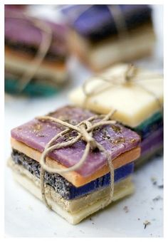 Natural soaps stacked on top of each other