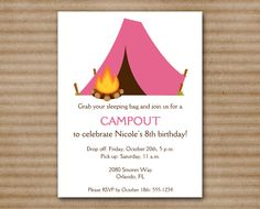 Camping Party Invitation / Campout / Slumber by PaperHouseDesigns, $10.00