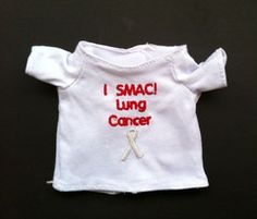 "Now available: ""I SMAC! Lung Cancer"" T-shirt for Phoenix the #lungcancer fighting SMAC! monkey to wear! $7.00"
