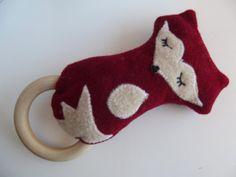 Wool  Wood Fox Baby Rattle Teething Ring by smallwonderwoolies, $16.00