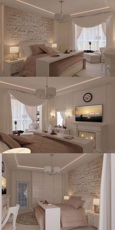 Wandgestaltung Schlafzimmer - graue Wand + weißer Schriftzug + ...