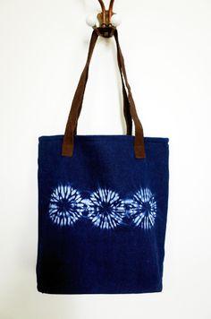 Gift for her Indigo hand dyed handbag. Boho chic handbag with Fabric Handbags, Fabric Bags, Shibori, Tie Dye Bags, Boho Chic, Tie Dye Crafts, Denim Tote Bags, Reusable Shopping Bags, Casual Bags