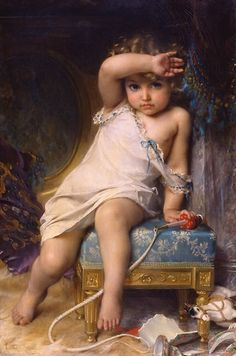 The Broken Vase - Émile Munier – was a French academic artist and student of William-Adolphe Bouguereau. William Adolphe Bouguereau, Vintage Illustration, Munier, Oil Painting Reproductions, Renaissance Art, Fine Art, French Artists, Beautiful Paintings, Oeuvre D'art