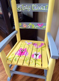 Girls Rocking Chair   Yellow Gray   Paisleys And Birds   Childs Rocker Seat  _ Owl Rocking Chair   Owl Bench