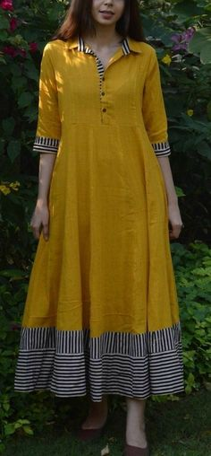 Mustard Flared Maxi with multi-color border Dress Neck Designs, Designs For Dresses, Stylish Dresses, Casual Dresses, Fashion Dresses, Ladies Dresses, Kurta Neck Design, Collar Kurti Design, Kurta Designs Women
