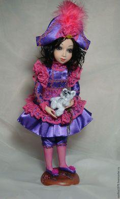 Купить Лоли - 15% - коломбина, кукла с мишкой, авторская кукла, интерьерная кукла, подарок, атлас