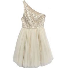 alice + olivia Corinne Embellished One Shoulder Party Dress (£290) ❤ liked on Polyvore featuring dresses, vestidos, robes, short dresses, layered dress, cream dress, one shoulder cocktail dress, short beaded dress and short beaded cocktail dresses
