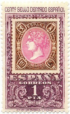 1965 Spanish Stamp - 100th Anniversary of the Perforated Stamp