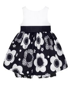 Another great find on #zulily! Black & White Floral Skirt Dress & Bloomers - Infant #zulilyfinds
