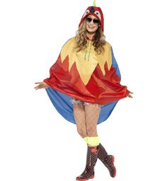 Veelkleurige Papagaai-Regen-Poncho Kostuum