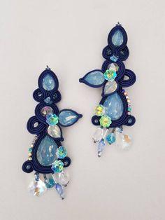 Orecchini soutache, orecchini eleganti, soutache earrings, orecchini blu, mother's day, orecchini lunghi, soutache jewels, soutache blu di LefarfalleCreazioni su Etsy