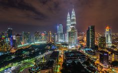 Download wallpapers 4k, Petronas Towers, KLCC, skyscrapers, Asia, nightscapes, Kuala Lumpur, Malaysia