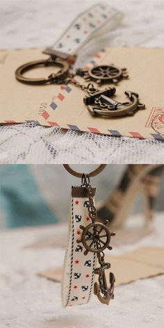 Nautical Bronzed Anchor Rudder Key Chains with Fabric Rope Personalized Gadget Nice Birthday Gifts Vintage Sea Jewellery K005