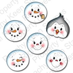 PK-522 Winter Faces 1 1/4″: Peachy Keen Stamps | Home of the original clear, peach-tinted, high-quality whimsical face stamps.