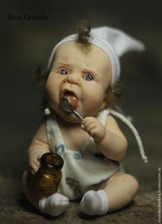 Купить Обжорик)) - белый, ложка, авторская кукла, living doll, хлопок