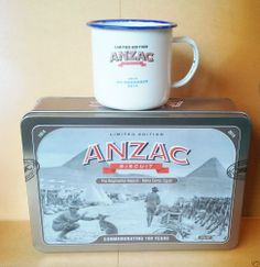 UNIBIC ANZAC BISCUIT TIN 2014 Regimental Mascot Commemorating 100 Years w/ Mug