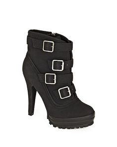 """4 strap and buckle closures  Lug soles  Full inside zip  Rounded toe    The chic Nubuck ankle boot with a rugged edge: multi buckles and a chunky lug sole. Perfect with leggings, jeans or a long, flowing skirt. 4 7/8"""" covered heel; 1 ¼"""" platform. Ultra-smooth leather-look"""