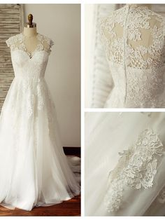 A-line Wedding Dress - Ivory Sweep/Brush Train V-neck Lace / Tulle - USD $169.99