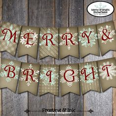 Christmas Banner - Holiday Banner - Merry & Bright Snowflake - Merry Christmas Banner - Printable. $10.00, via Etsy.