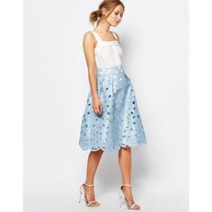 Chi Chi London Cutwork Prom Midi Skirt (£47) ❤ liked on Polyvore featuring skirts, blue, prom skirt, high-waisted skirts, high waisted midi skirt, high-waist skirt and zipper skirt