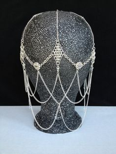 Swarovski Crystal Chainmaille Headdress, Egyptian Headpiece, Bellydance costume, Hair accessory, Hair Jewelry, Goddess head piece