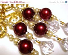 CIJ SALE 5 Regal Icicle Diamond Dangle Christmas Ornaments with Chunky Burgundy Pearls on Spiral Beaded Ornament Hangers