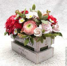Цветы ручной работы. Цветочная композиция из полимерной глины