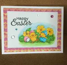 Easter Card created with Inky Antics - Playful Chicks and coloured with Zig Clean Color Real Brush markers.