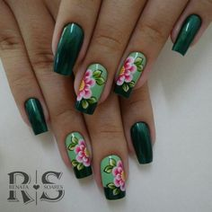 Perfect Colorful Floral Nail Design – 18 It's your turn to have great nails! Check out this year's most … Great Nails, Cool Nail Art, Cute Nails, Animal Nail Art, Aycrlic Nails, Nail Art Hacks, Flower Nails, Cool Nail Designs, French Nails