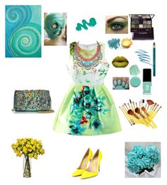"""""""Turquoise & Yellow ✨"""" by moonlightsilhouette ❤ liked on Polyvore featuring WithChic, Ghibli, Gianvito Rossi, Tom Binns, Obsessive Compulsive Cosmetics, Jin Soon, By Terry, Bare Escentuals, NARS Cosmetics and Color Me"""