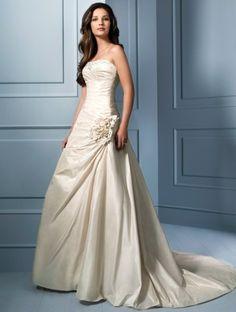 (NO.031115 )2011 Style A-line Strapless Sleeveless Chapel Train Taffeta Wedding Dress For Brides