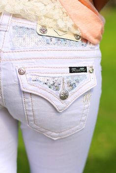 The Glitz & Glam Skinny in White by Miss Me