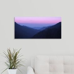 Ebern Designs 'Smokey Mountain Twilight' Photographic Print on Canvas Size: H x W x D Smokey Mountain, Mountain Art, Canvas Fabric, Canvas Prints, Stretcher Bars, World Cultures, Purple Grey, Country Of Origin, Canvas Size