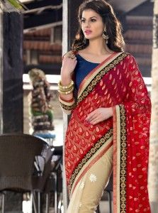 Sophisticated Embroidered Work Red Designer Saree