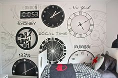Boys Clock Room by Nicole from Little Liberty. Such a unique room that would be awesome for a kid! Love the clock theme!