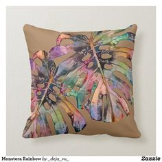 Monstera Rainbow Throw Pillow Monstera Deliciosa, Pastel Watercolor, Party Hats, Art Pieces, Rainbow, Throw Pillows, Turquoise, Beige, Gray