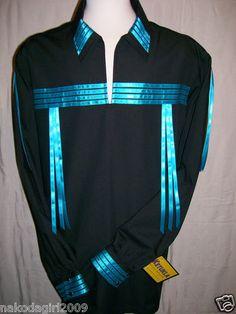Native American Indian Regalia Traditional Black Turquoise Ribbon Shirt 3X | eBay